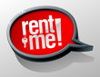 Rent me glass speech bubble