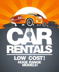 Car rentals design template with retro car
