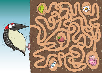 Woodpecker Maze Game ... with solution in hidden layer
