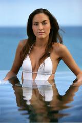 Attractive brunette in bikini