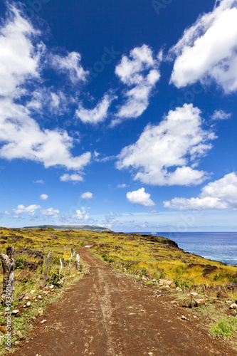 Curvy gravel road in Easter Island
