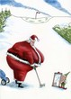 Fat Santa golfs with elf