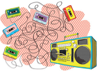 Tapes and Boom-box Maze Game ... Answer: Tape with letter d