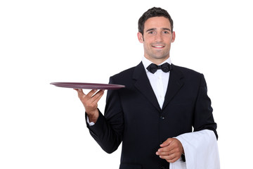 Waiter with tray smoking and balance