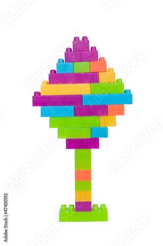 Colorful plastic blocks tree