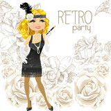 Cute blond woman with mouthpiece on Retro party card