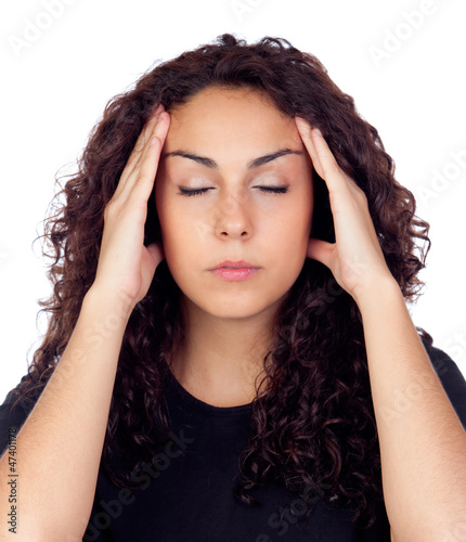 Brunette woman with headache