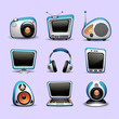 multimedia icons blue color