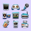 multimedia icons blue color-part 2