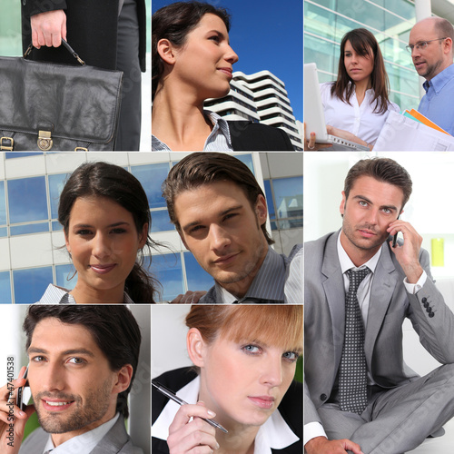 A collage of business professionals at work