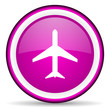 airplane violet glossy icon on white background