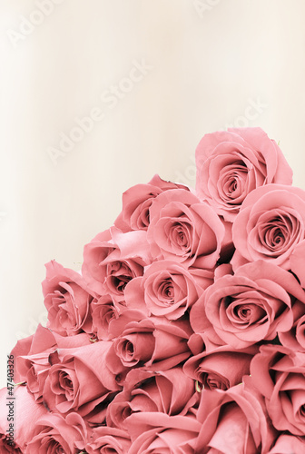 Bouquet of roses on a faded background paper