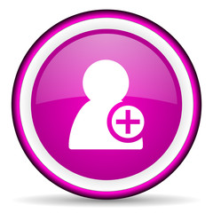 add contact violet glossy icon on white background