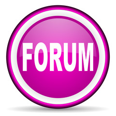 forum violet glossy icon on white background