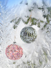 Christmas Background with Knitted Ball. Frosty pattern at a wint
