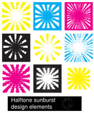 A set of halftone sunburst design elements