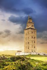 Hercules tower sunset, La Coruna, Galicia, Spain, UNESCO
