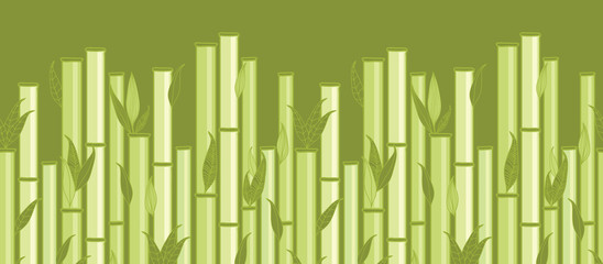 Vector bamboo stems and leaves horizontal seamless pattern