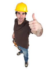 Thumbs up from a builder
