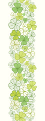 Vector clover line art vertical seamless pattern ornament