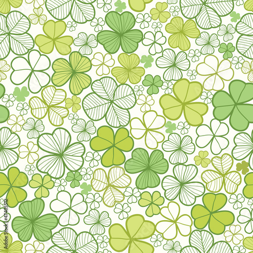 Vector clover line art seamless pattern background with hand