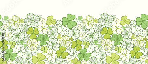 Vector clover line art horizontal seamless pattern ornament - 47405518