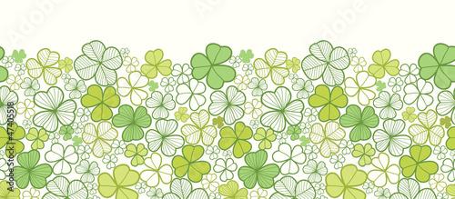 Vector clover line art horizontal seamless pattern ornament