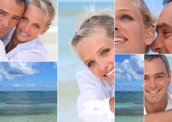Montage of a couple by the sea
