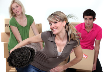 A group of young people on moving day