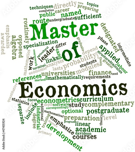 Word cloud for Master of Economics