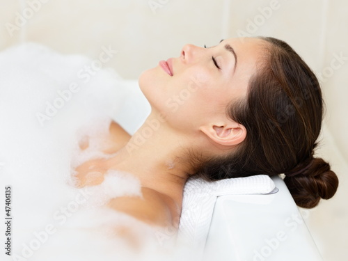 Bath woman relaxing bathing