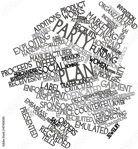 Word cloud for Party plan