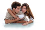 Couple with empty bowl