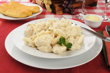 Bowl of Cheese tortellini with Alfredo Sauce