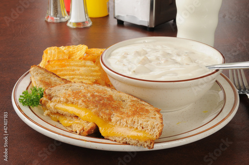 Grilled cheese sandwich with clam chowder