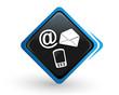 icône contact sur bouton carré bleu design