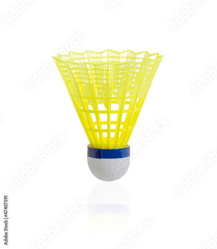 Yellow badminton on white background