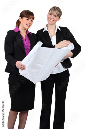 Businesswomen discussing plans