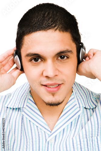 Portrait Of Man Listening To Headphones