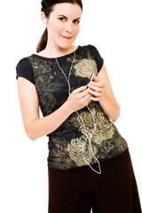 Portrait of a woman listening MP3