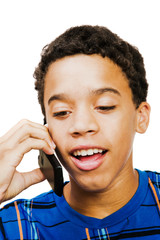 Teenage Boy Using Mobile Phone