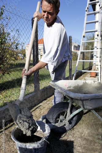 Man preparing cement