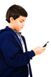 Close-Up Of Boy Text Messaging
