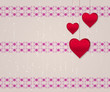Hearts on pattern background