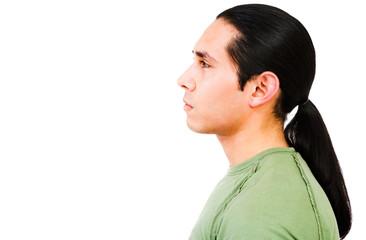 Latin American man thinking