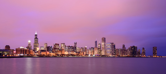 Chicago in the glow of sunset