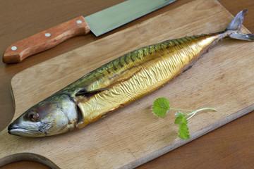 Smoked mackerel on the table
