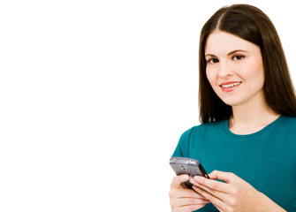 Gorgeous woman text messaging