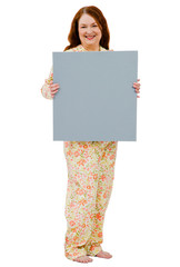 Confident woman showing placard