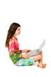 Caucasian girl working on laptop